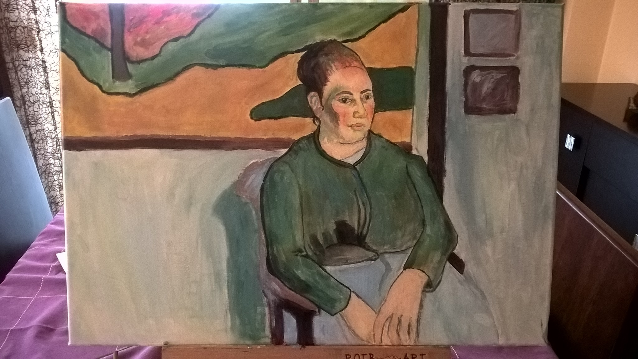 April 2018 painting woman sitting